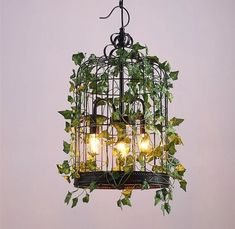 Emory - Vintage Industrial Bird Cage Hanging Lamp, The bird cage is both a home for the birds and an ornamental tool. You are able to choose whatever you want on the list of bird cage types and get a whole lot more specific images. Solar Light Crafts, Solar Lights, Hanging Lights, Hanging Lamps, Solar Lamp, Wall Lamps, Bird Cage Design, Hanging Bird Cage, Cage Light
