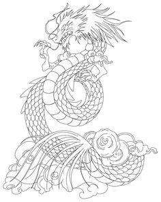 Shiryu Dragon tattoo lineart by Azraeuz