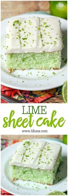 DELICIOUS Lime Sheet Cake Recipe via lil' luna - a super soft and moist lime cake with homemade lime buttercream frosting! The Best EASY Sheet Cakes Recipes - Simple and Quick Party Crowds Desserts for Holidays, Special Occasions and Family Celebrations