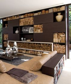 Living Room Wood & Stone Bungalow Home By Fernanda Marques