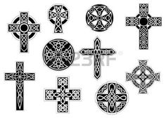 Illustration of Set of black and white vintage decorative celtic crosses, for religious design vector art, clipart and stock vectors. Celtic Symbols, Celtic Art, Celtic Crosses, Celtic Knots, Design Celta, Cross Drawing, Celtic Cross Tattoos, Clay Cross, Religion