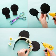 Learn how to make a pair of Minnie Mouse flower crown ears with this style DIY for your next trip to Disneyland or Disney World. ideen Have the Most Magical Disneyland Spring Break With These Three Outfit Ideas Diy Disney Ears, Disney Mickey Ears, Disney Diy, Disney Crafts, Mickey Ears Diy, Diy Headband, Ear Headbands, Black Headband, Spring Nail Colors