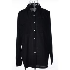 Black Solid Color Button Up Long Sleeve Chiffon Blouse (20940 IQD) ❤ liked on Polyvore featuring tops, blouses, black, button blouse, chiffon tops, dressy long sleeve tops, button front top and long sleeve blouse