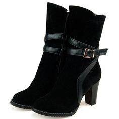 67.00$  Buy now - http://ali422.worldwells.pw/go.php?t=32414283372 - Airfour Fashion New Mid-Calf High Boots Vintage Heel Winter Autumn Shoes Warm Round Toe Platform Women Snow Boots BIG SIZE 34-46 67.00$