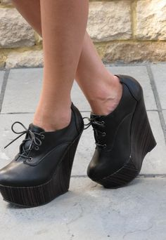 7e884c13754 Black lace up leather look ankle boot  black  boots  wedges  www.loveitsomuch.com. LoveItSoMuch · High heel shoes ...