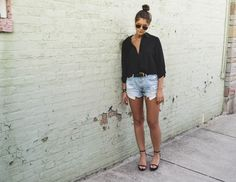 Affordable Style Blog // BitofBizdom button down // cutoff jeans // click for ready to shop links