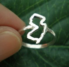 NJ New Jersey State Silver Ring  New Jersey Outline by yhtanaff, $35.00 - #newjersey #map #usa