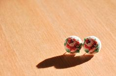hand embroidered, tapestry floss stud earrings - unique,handmade, hungarian folk art gobelin pieces, stainless surgical steel, size 24/15mm