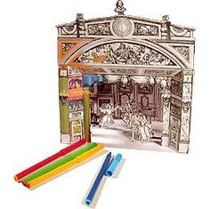 Complete free printable Victorian mini theater with set and characters for the play Cinderella! Black & white.