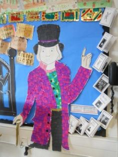 Charlie and the Chocolate Factory Library Displays, Classroom Displays, Classroom Themes, Roald Dahl Activities, Teaching Schools, Teaching Ideas, Charlie Chocolate Factory, Reading Display, Reception Class
