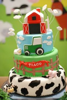 down on the farm boy's birthday party cake