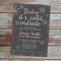 """Baby+It's+Cold+Outside    Printable,+custom+Baby+Shower+Invitation.+Celebrate+an+expecting+mama's+winter+baby+with+this+cute+gray,+pink,+and+white+""""Baby+it's+cold+outside""""+invitation.+++    These+digital+invitation+files+are+sent+to+you+in+a+high+resolution+(pdf)+file+format+and+are+ready+for+you..."""