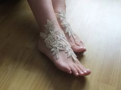 Champagne barefoot sandals Champagne  embroidered by Weddngstore