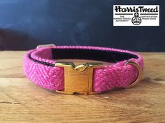 Bella  Handmade Harris Tweed Baby Pink Herring Bone fabric dog collar with strong webbing core, lined with black velvet for comfort. Solid welded D-rings for peace of mind.  **Collar Width** These collars can be produced in either 1.5, 2.0 or 2.5cm widths please specify the width you require in the notes at checkout. If you do not you order may be delayed.  100% virgin wool, hand dyed and spun in the Outer Hebrides by islanders in their homes as per the Harris Tweed Act 1993. This beautiful…