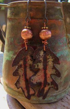 Fall Leaf Enameled Copper Jewelry Copper Jewelry by Gasquetgirl