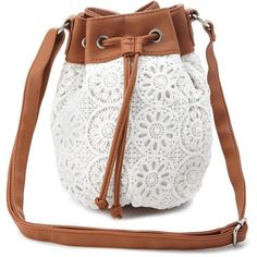 Charlotte Russe White Crochet Cross-Body Bucket Bag by Charlotte Russe... ($12) ❤ liked on Polyvore