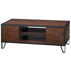 """$224 - 18.5""""H x 46.8""""W x 23.23""""D - Furniture of America Sivenza Vintage Walnut Industrial Coffee Table"""