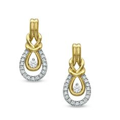 1/5 CT. T.W. Everlon™ Diamond Knot Drop Earrings in 10K Gold