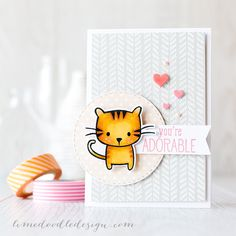 A white heat embossed background on a neutral colour really adds subtle interest and texture to a card while still letting the focal point shine and boy what a cutie is this cat from Hero Arts Playful Animal set! Find out more by clicking on the following link: http://limedoodledesign.com/2015/07/white-heat-embossed-background/ ~ Debby Hughes ~ Lime Doodle Design