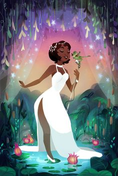 """Sunset Rhapsody"" My Princess and the Frog piece for the Ron & John Tribute Art Show at Gallery Nucleus last night! So many gorgeous limited pieces for sale. There is only one available of this framed piece here! I hope you like this piece as much as..."
