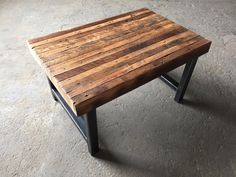 Reclaimed Butcher Block Coffee Table With Hand Rubbed Finish on Metal Base