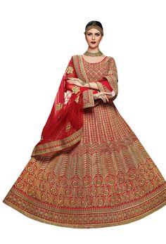 Semi Stitched Red Silk #Lehenga #Choli #nikvik  #usa #designer #australia #canada #freeshipping #dress #Flare #flared