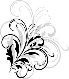 Stock vector of 'Simple black and white swirling foliate design with a larger repeat pattern in grey behind on a white background'