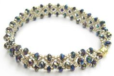 Beaded Cross Stitch bracelet with crystal rondels by Cheryl Erickson.  Instructions and kits are availble in this and other colors form www.artisticbead.com