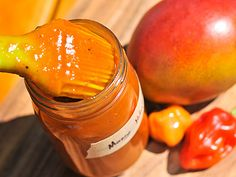 Mango Habanero BBQ Sauce ~ Staying true to its name, mango forms the sweet base here, but this sauce also delivers all the tangy and spicy complexity that makes a great barbecue sauce. Hot Sauce Recipes, Barbecue Sauce Recipes, Barbeque Sauce, Bbq Sauces, Grilling Recipes, Spicy Barbecue Sauce Recipe, Smoker Recipes, Rib Recipes, Salsa De Habaneros