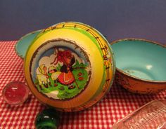 Little Bo Peep Tea Party Toy Bowls Vintage by WillowValleyVintage