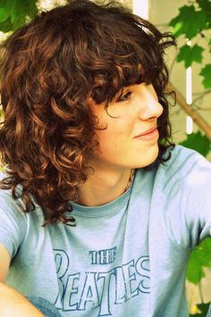 curly short hair bangs #cute #brunette