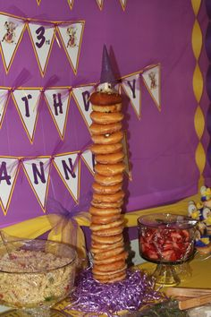 Tangled Rapunzel Party Donut Tower for the morning after the sleepover! Rapunzel Birthday Party, Tangled Party, Tangled Rapunzel, 3rd Birthday Parties, 9th Birthday, Birthday Ideas, Donut Tower, My Baby Girl, Sleepover