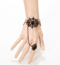 black gem and Spiderweb lace bracelet ring set (promotion),shop at www.costwe.com