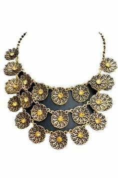 The necklace is crafted in alloy, featuring three chains of exquisite round gold flowers as the pendant with yellow artificial crystal to the center and gold chain with a lobster clasp closure. Antique Jewelry, Gold Jewelry, Jewelery, Gold Necklace, Jewelry Necklaces, Cheap Designer Handbags, Gold Flowers, Cheap Jewelry, Grey Yellow