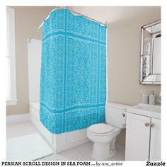 PERSIAN SCROLL DESIGN IN SEA FOAM BLUE SHOWER CURTAIN