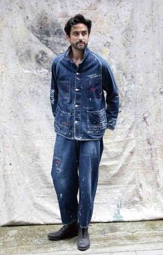 Denim Jacket Men, Men Shorts, Men's Denim, Denim Jackets, Porter Classic, Men's Street Style Photography, Double Denim, Work Jackets, Denim Fashion