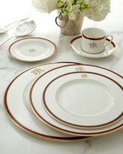 Monogrammed dinnerware from Horchow