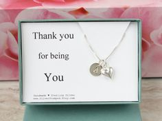 Thank you gift box sterling silver necklace with by SilverStamped