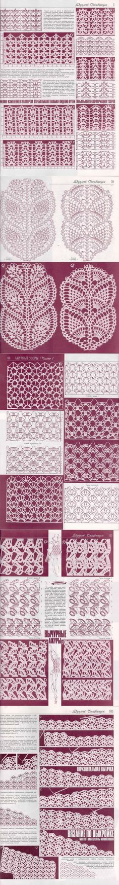 Knitting and Crochet Patterns for your designs. They will help you with crochet scheme. Crochet Stitches Chart, Crochet Motifs, Crochet Borders, Crochet Diagram, Thread Crochet, Love Crochet, Filet Crochet, Knitting Stitches, Crochet Doilies
