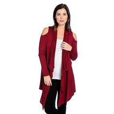6b12881cf8f 733-677 - Kate   Mallory® Mixed Stitch Knit Long Sleeve Cold Shoulder Open  Front Cascade Cardigan