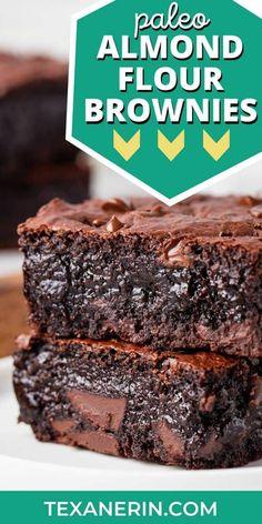 Paleo Brownies, Almond Flour Brownies, Best Brownies, Gooey Brownies, Baking Brownies, Brownies Fondants, Almond Flour Chocolate Cake, Avocado Brownies, Chocolate Fudge