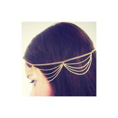 Rotita Chain Design Golden Metal Hair Accessory (6.29 CAD) ❤ liked on Polyvore featuring accessories, hair accessories, hair, beauty, head, gold, metal headband, hair bands accessories, hair chain accessories and chain headband