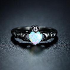 Fire Opal Heart Ring