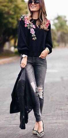 #winter #outfits black, green, and red floral long-sleeve t-shirt