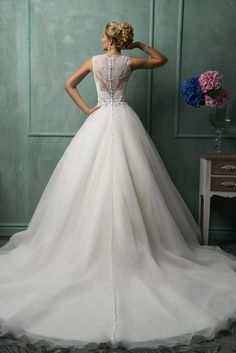 88a7dd5718 Timeless Illusion Princess Wedding Dress Lace Zipper Button Back Item Code   AS1298