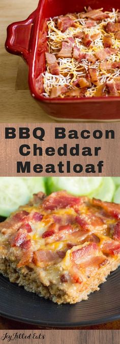 BBQ Bacon Cheddar Meatloaf - Low Carb, Grain & Gluten Free, THM S - This EASY Keto Meatloaf comes together in about 5 minutes. It has so much flavor from the barbecue sauce, bacon, and cheddar you won't be able to resist having seconds. Sugar Free Recipes, Bacon Recipes, Low Carb Recipes, Cooking Recipes, Turkey Recipes, Low Carb Hamburger Recipes, Loaf Recipes, Cake Recipes, Cooking Food