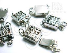 new ( B623RH ) 2 sets / 9 x 9 x 4 mm - Rhodium Plated 2-Strands Square Filigree Box Clasp Findings. $1.50, via Etsy.