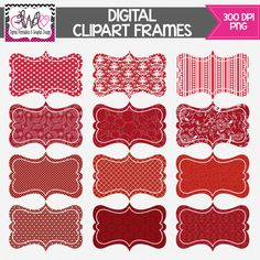INSTANT DOWNLOAD: Shades of Red Digital Frames - Digital Tag - Clipart - Commercial Use