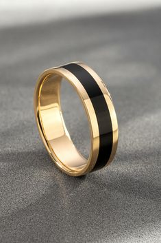 Gold ring with black enamel. - Gold ring with black enamel. Men's wedding band. Gold ring with black enamel. Men's wedding band. Wedding Ring For Him, Black Wedding Rings, Wedding Men, Black Rings, White Gold Rings, Male Wedding Bands, Ring Set, Ring Ring, Mens Gold Rings