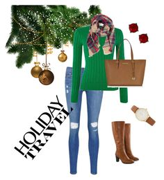 """Christmas Eve Travel Day"" by jchiemstra on Polyvore featuring Frame Denim, Polo Ralph Lauren, Look by M, Michael Kors, Jilsen Quality Boots, Kate Spade and Nordstrom Rack"